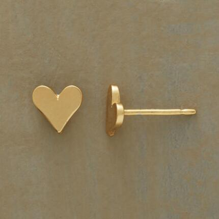 These gold-dipped little heart earrings will find a place in your affections.