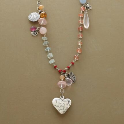 Replete with blushing gems, this Jes MaHarry beautiful love pendant necklace is a truly special piece.