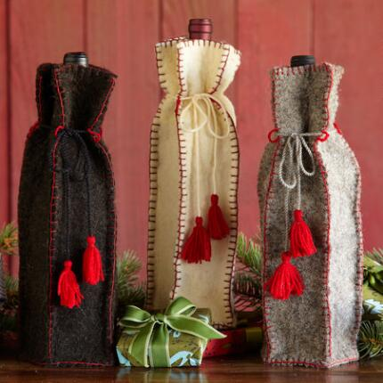 FABRIC WINE BAGS, SET OF 3