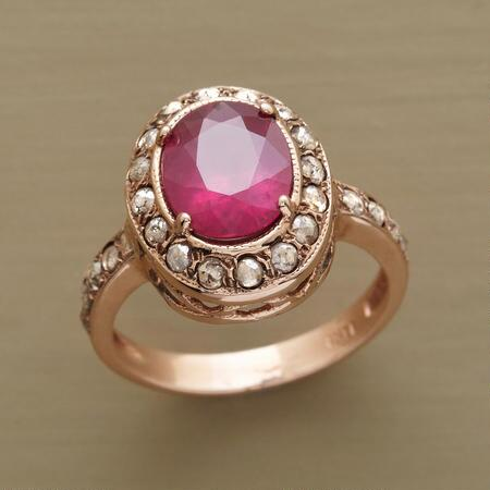 RIMMED RUBY RING