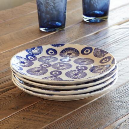 BLUE BOUQUET STARBURST SALAD PLATES