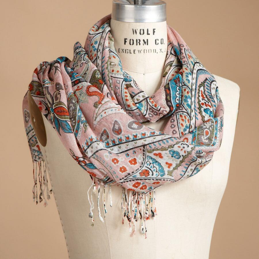 PRETTY IN PINK PAISLEY SCARF
