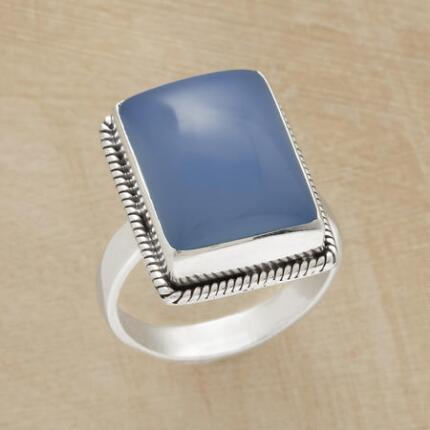 With a distinctive hue and style, this dreamy blue chalcedony ring is one of a kind.