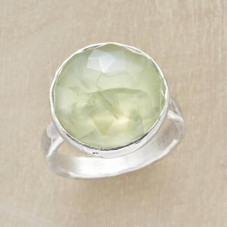 Its simple band allows this green prehnite summit ring's stunning jewel to take center stage.