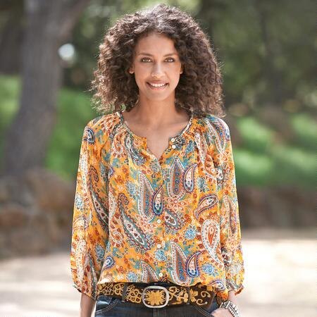 PERFECT PEASANT YELLOW PAISLEY BLOUSE