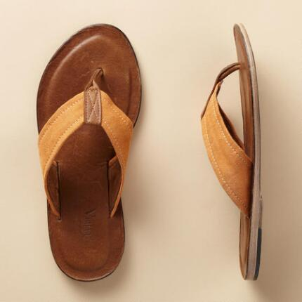 MARISSA CANVAS LEATHER FLIP FLOPS