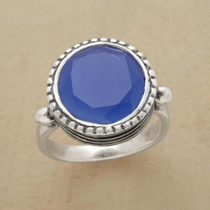 This stunning lofty blue quartz ring features a stone of fathomless blue.