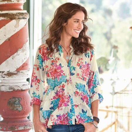 BOUQUET TIERED BLOUSE - IVORY