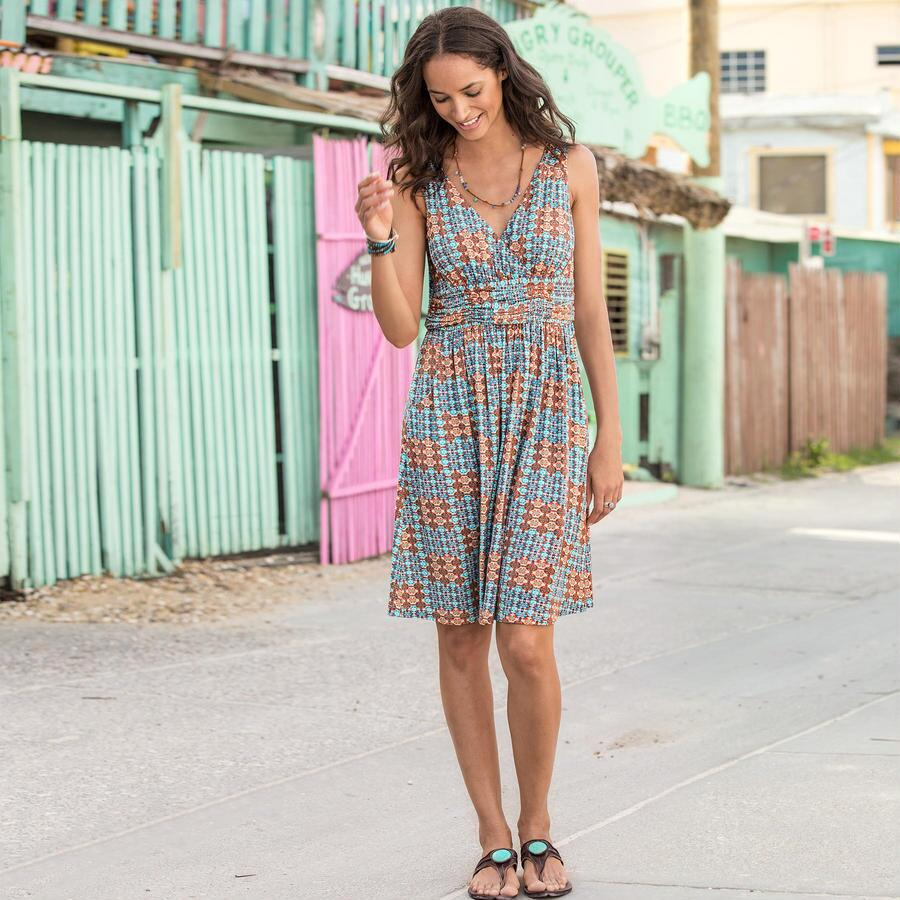 PALM CANYON DRESS-SCROLL PRINT