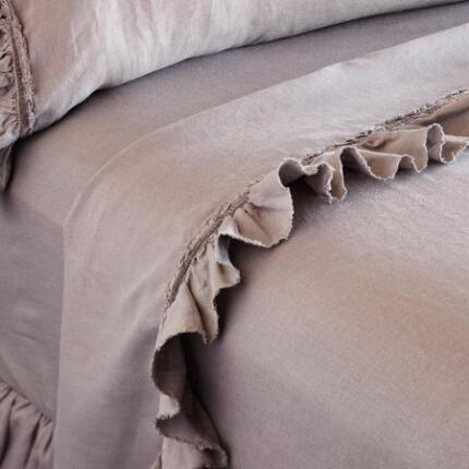 RUFFLED LINEN FLAT SHEET