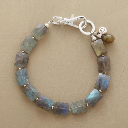 A chain of luminescent labradorite begins and ends with the sterling silver clasp on a breathtaking bracelet.