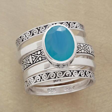 SCROLLED CHALCEDONY RING QUINTET S/5