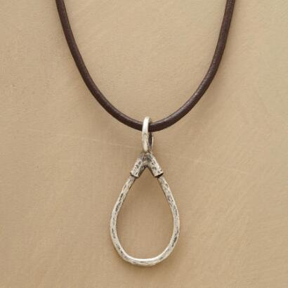 STERLING LEATHER CHARMHOLDER NECKLACE