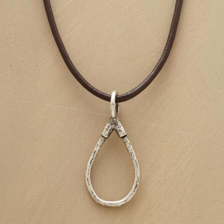 This sterling silver teardrop necklace allows charms to swing freely while keeping them safe.