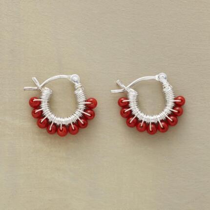 PETITE CORAL HOOP EARRINGS