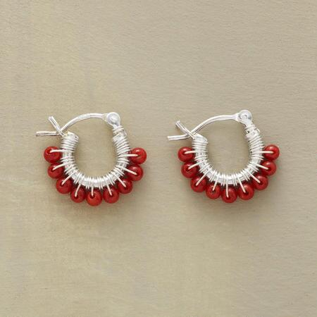 PETITE CORAL HOOP EARRINGS