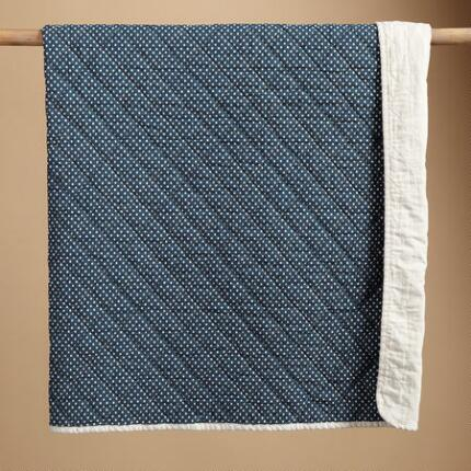 DOTS ON BLUE THROW