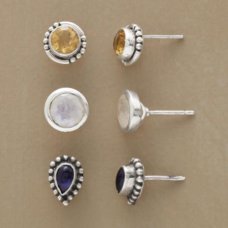 The individual pairs of this gemstone stud earrings set will wear just as well together as one at a time.