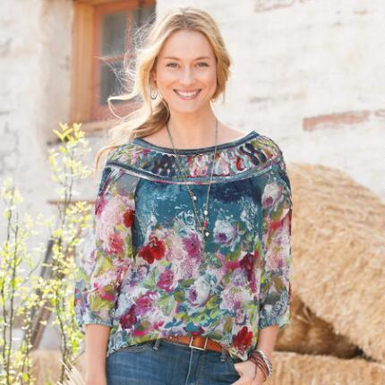 GAZEBO BLOUSE-BLUE TAPESTRY