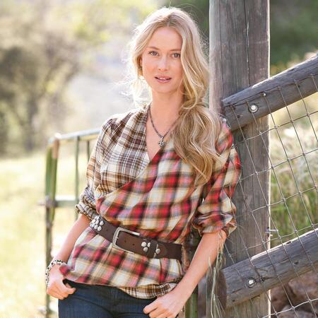 PLAID PASTICHE TOP