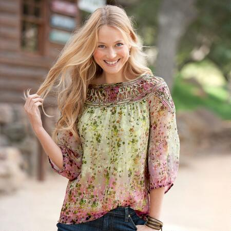 GREEN OMBRE FLORAL BLOUSE - PETITES