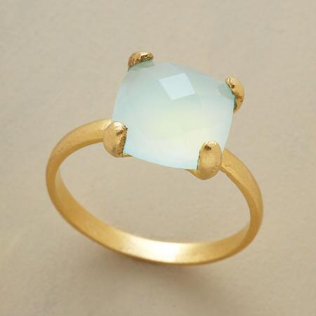 Your eyes could swim for hours in this tropical sea chalcedony ring.