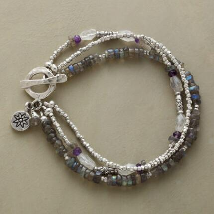 Coolly elegant, this multi-strand gemstone toggle bracelet emits striking flashes of color.