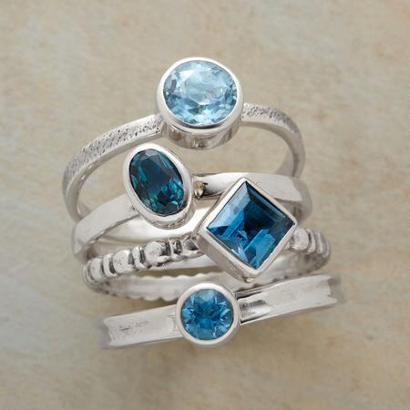 Each lovely on its own, the bands of this topaz stack ring set are stunning in combination.