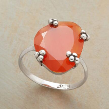 Sweet and bright, the color of this tangerine dream carnelian ring turns heads.