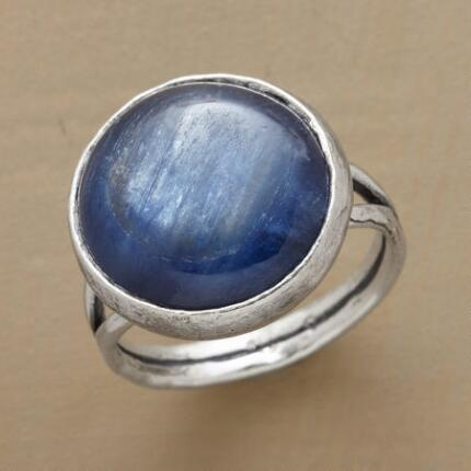 This hammered blue kyanite ring has a color of captivating depths.