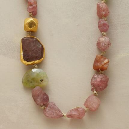 Organically graceful, this tourmaline necklace reveals the gemstone's raw pastel beauty.