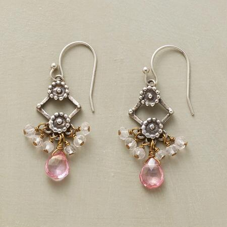 Endearingly designed, these pink topaz rose quartz earrings gleam with charm.