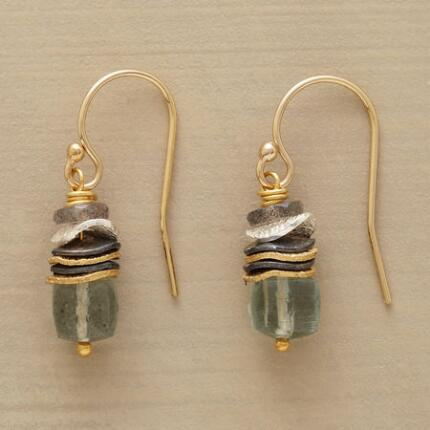 A pair of labradorite bead and aquamarine earrings that mates earthy hues with luminous metals.