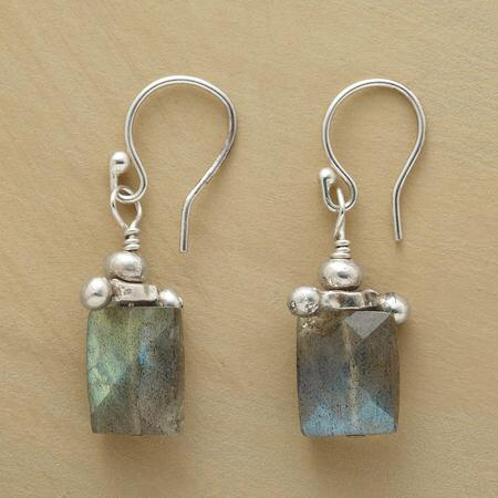 This pair of bead and barbell labradorite earrings is one-of-a-stunning-kind.