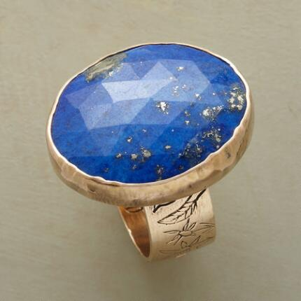 This Jes MaHarry artisan ring features a stone of stunningly rich azure.