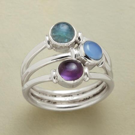 This three gems wrap ring collects three pretty peas from differently colored pods into a single piece.