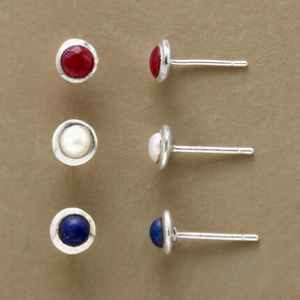 TRICOLORE EARRINGS, SET OF 3