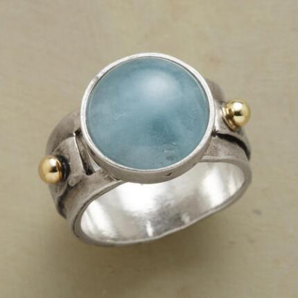 Modernly elegant, this blue aquamarine sailing ring is a classic in the making.