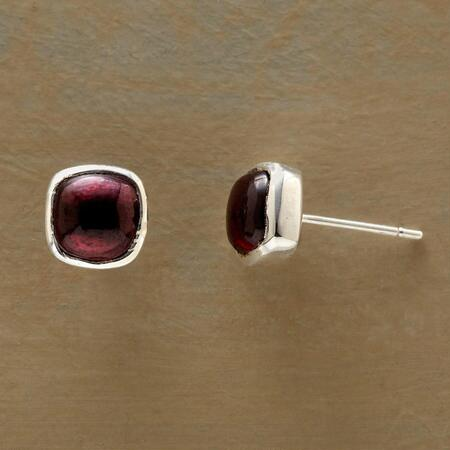 Like drops of luscious juice, these square garnet berry earrings will sweeten any look.