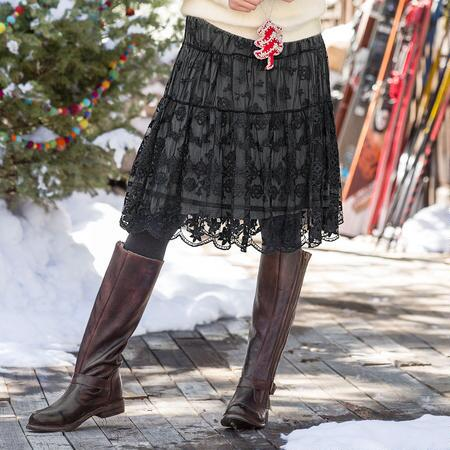 Our beautiful tiered lace skirt offers a versatile sense of elegance.