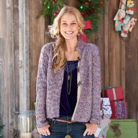 PLUMBERRY CABLED CARDIGAN