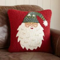 BEARDED SANTA HOOKED PILLOW