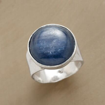 The quiet charm of this hammered band kyanite ring suits any ensemble.