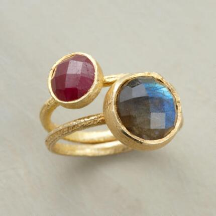 A handcrafted gemstone ring set that will add a dash of subtly varying color to your look.