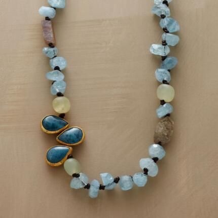 A handmade amazonite teardrop necklace that will refresh your look with its cool hues.