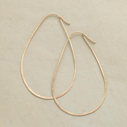 A pair of goldfilled wire hoop earrings that catches the eye with its unusual shape.