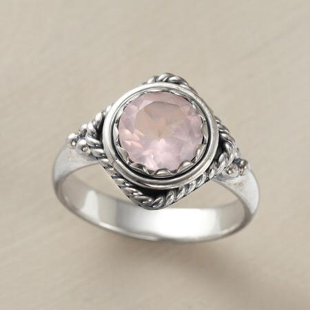 With the gentlest hint of color, this rose quartz gemstone ring is delicately alluring.