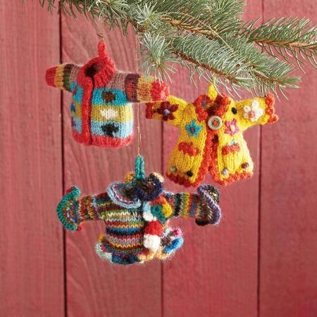 HAND KNIT SWEATER ORNAMENTS, SET OF 3