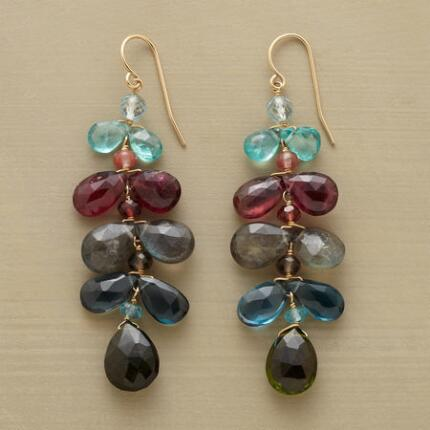 Sumptuously colored and bejeweled, these handmade dangling gemstone earrings are utterly gorgeous.