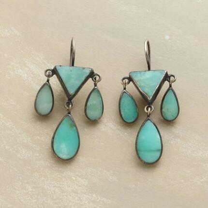 Uniquely sophisticated, these Jane Diaz dangling chrysoprase earrings make a chic impression.
